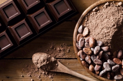 Chocolate-bar-cocoa-beans-and-ground-cocoa-shot-directly-above-000064951397_Large