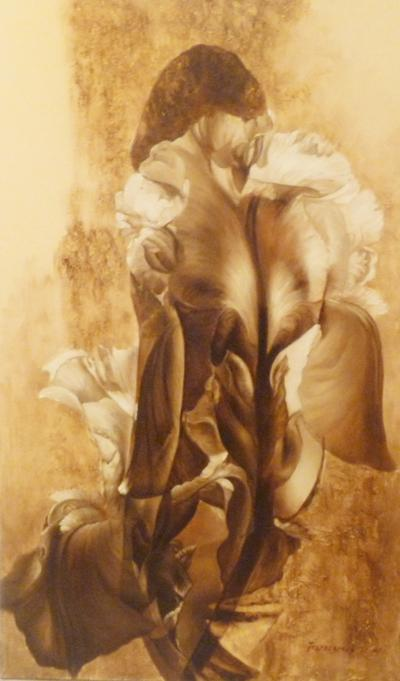 flower in a woman painting