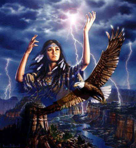 native american girl with lightning and birds