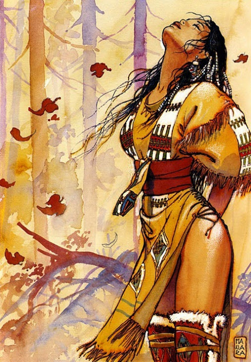 native american woman tribal clothes