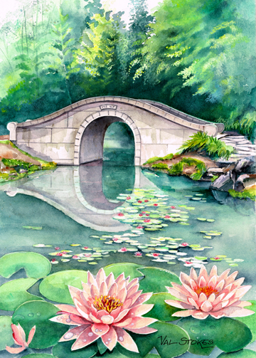 bridge over water with flowers
