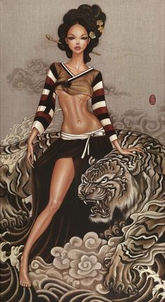 woman with tiger